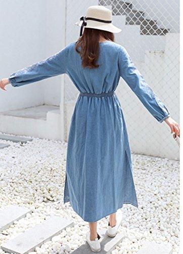 cortas de vestido noche Mujeres la del de del Azul blusa vestido algodón elegante vestido patinador bordado Scothen floral dril manguito mangas rodilla mezclilla ocasionales Mini de delgado vestido CBwqax7nzP