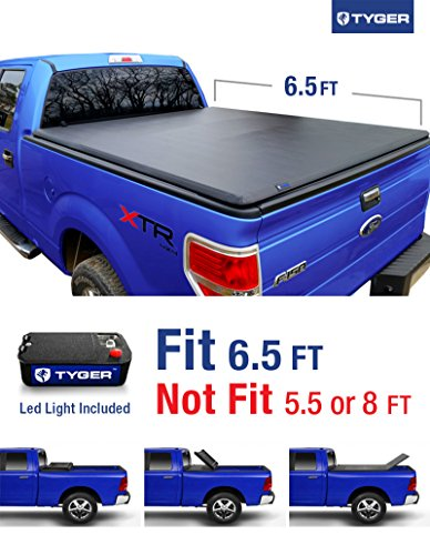 Tyger Auto TG-BC3F1020 TRI-FOLD Truck Bed Tonneau Cover 2009-2014 Ford F-150 (Excl. Raptor Series) | Styleside 6.5′ Bed | For models without Utility Track System