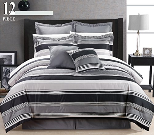 12 Piece Modern Bedding Black Grey White Stripe QUEEN Comforter Set - Bed In A Bag with Sheets, Pillow cases, Euro Shams and accent pillows