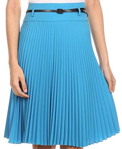 Sakkas FV3543 Knee Length Pleated A-Line Skirt with Skinny Belt - ()