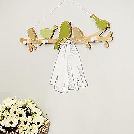 MDF hook up Decoración de pared verde Pájaros Perchas de ...