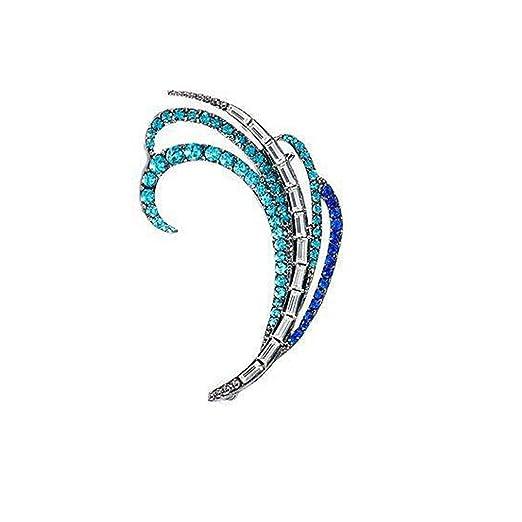 Ogquaton Moda Diamantes Azules Pluma Ear Cuff Clip Pendientes Joyas de Diamantes de imitaci/ón completos Durable y /útil