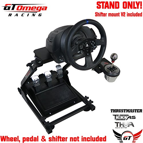 (GT Omega Racing Wheel Stand PRO for Thrustmaster T300 RS Force Feedback Steering Wheel & TH8A Shifter Mount V2 - Fanatec Clubsport PS4 Xbox PC - Tilt-Adjustable to Ultimate Sim Racing Experience)