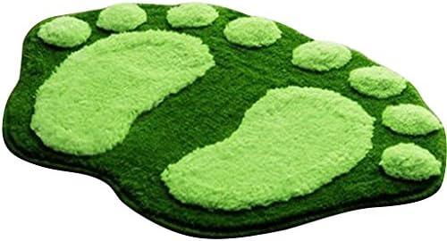 Peluche Tappeto di Bagno morbido in Forma di impronta di piede mignion Zerbino antiscivolo verde
