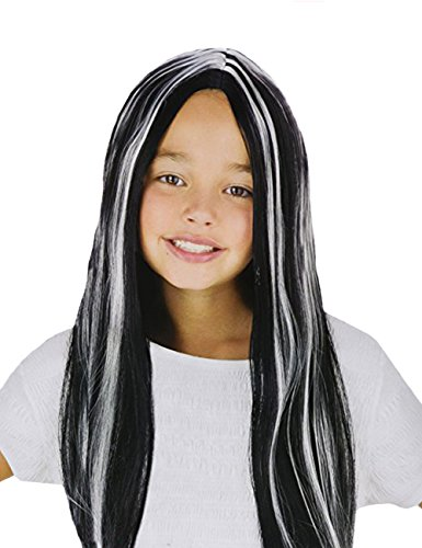 Child Wig Vampire (Fun World Child Long Wig Vampire Costume - Black with Streaks - for Halloween, Cosplay and Any)