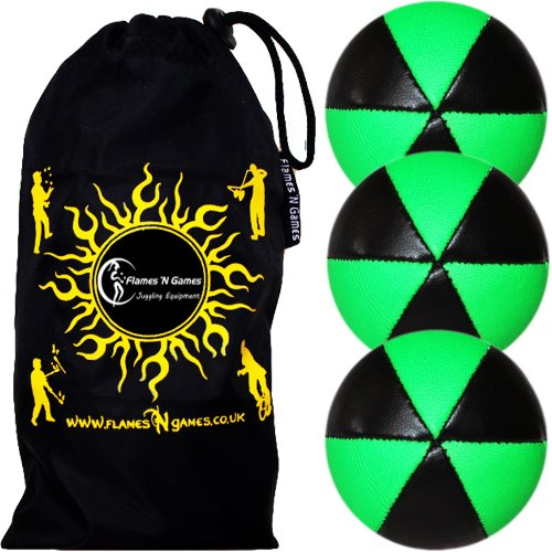 Flames N Games ASTRIX UV Thud Juggling Balls set of 3 (BLACK/GREEN) Pro 6 Panel Leather Juggling Ball Set & Travel Bag!