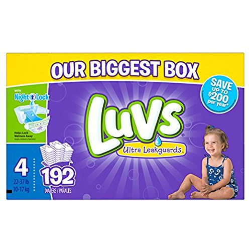 - Luvs Ultra Leakguards Disposable Baby Diapers, Size 4, 192 Count (Packaging May Vary)