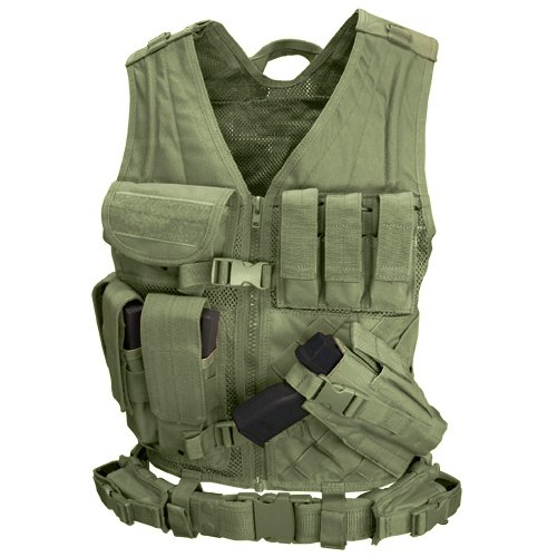Cross Draw Tactical Vest - Color: OD Green - XLarge / XXLarge