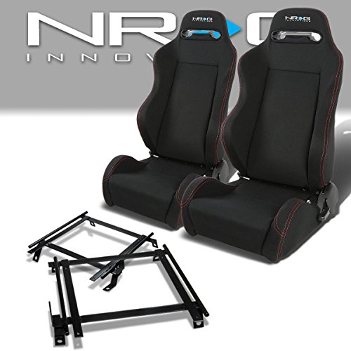 Pair of RSTRLGBK Racing Seats+Mounting Bracket for Acura RSX