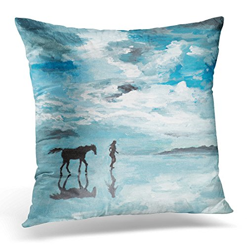 Sdamase Throw Pillow Cover Beach Oil Painting Illustrating Man Horse Running on Sea Shore Serene Scene Canvas Decorative Pillow Case Home Decor Square 18