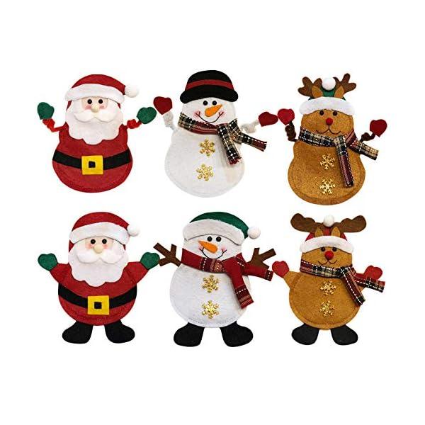 Hopeas 6pcs Portaposate Natalizie,Decorazione per Tavolo di Natale Babbo Pupazzo di Neve alci Natale Tasche Posate 1 spesavip