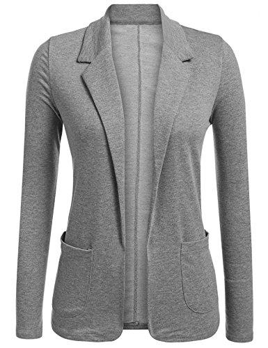- Concep Women Casual Long Sleeve Turn Down Collar Slim Waist Blazers Jackets for Work Grey L