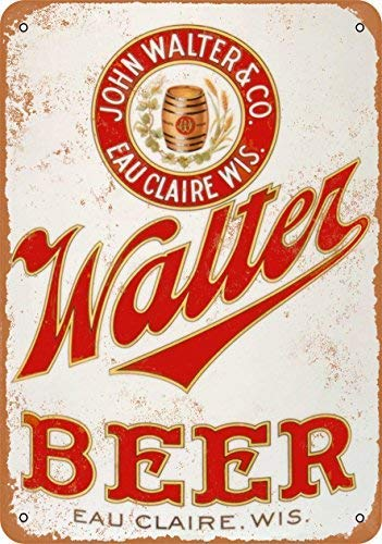 Jacksoney Tin Sign New Aluminum Walter Beer 11.8 x 7.8 Inch ()