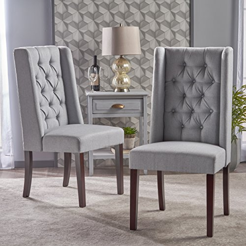 Christopher Knight Home Blythe Dining Chair Set, Light Grey/Brown (Grey Dining Chair)