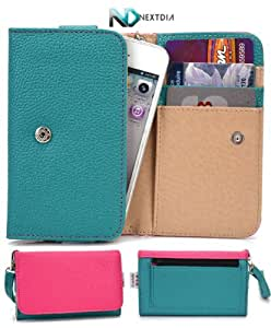 Samsung Galaxy Chat B5330 Phone Wallet Cover Case (Green Turquoise Magenta Hot Pink) + ND Velcro Tie