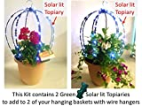 Cheap Scroll Trellis The Basket Booster to grow a flower globe with solar lights to add to 2 of your hanging baskets to support vines and/or string lights (2, Green with Lights)