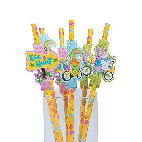 Fun Express Easter Paper Straws With Cutouts Party Favor - 24 pieces (Straw Bunny)
