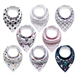 ALVABABY Baby Bandana Drool Bibs for Girls 8 Pack Baby Floral Gift Sets SKX08-CA