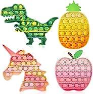 4 Pack Push Bubble Sensory Fidget Toys with Popping Sound, ASONA Tie Dye Push Bubble Unicorn Dinosaur Fidget S
