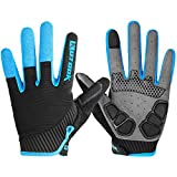 Bicycle Gloves Men, Gel Padded Touch Screen Full Finger Winter Gloves Outdoor Blue Medium