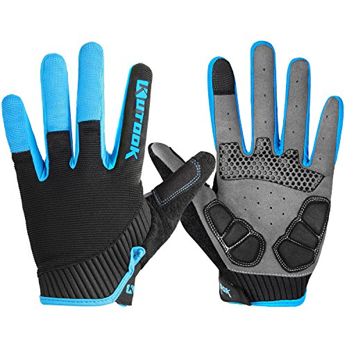 (Bicycle Gloves Men, Gel Padded Touch Screen Full Finger Winter Gloves Outdoor Blue Medium)