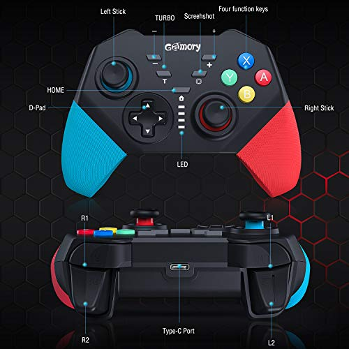 Gamory Switch Controller for Nintendo Switch/Switch Lite, Switch Wireless Pro Controller for Nintendo with Dual Shock, Motion Control Gamepad Joystick Switch Pro Controller for Super Nintendo Game
