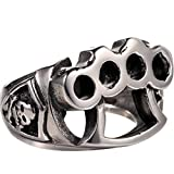 Silver Biker Ring 316L Stainless Steel Boxing Gloves Hand Buckle Soft Gothic Sz 7-13
