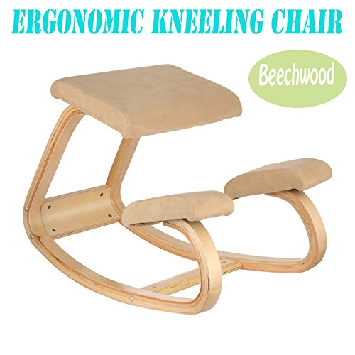 VEVOR Ergonomic Kneeling Chair Beechwood Ergonomic Kneeling Office Chair Perfect for Body Shaping and Relieveing Stress
