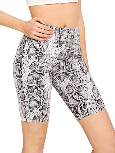 WDIRARA Women's Snakeskin Print Shorts Elastic Waist Stretchy Cycling Short Leggings Black and White S
