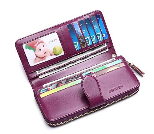 Modesty Portafoglio da donna in pelle con zip in pelle di alta capacità cerniera frizione Multi Card Slot viaggio lungo borsa della signora borsa con cinturino da polso(Porpora)-WW001