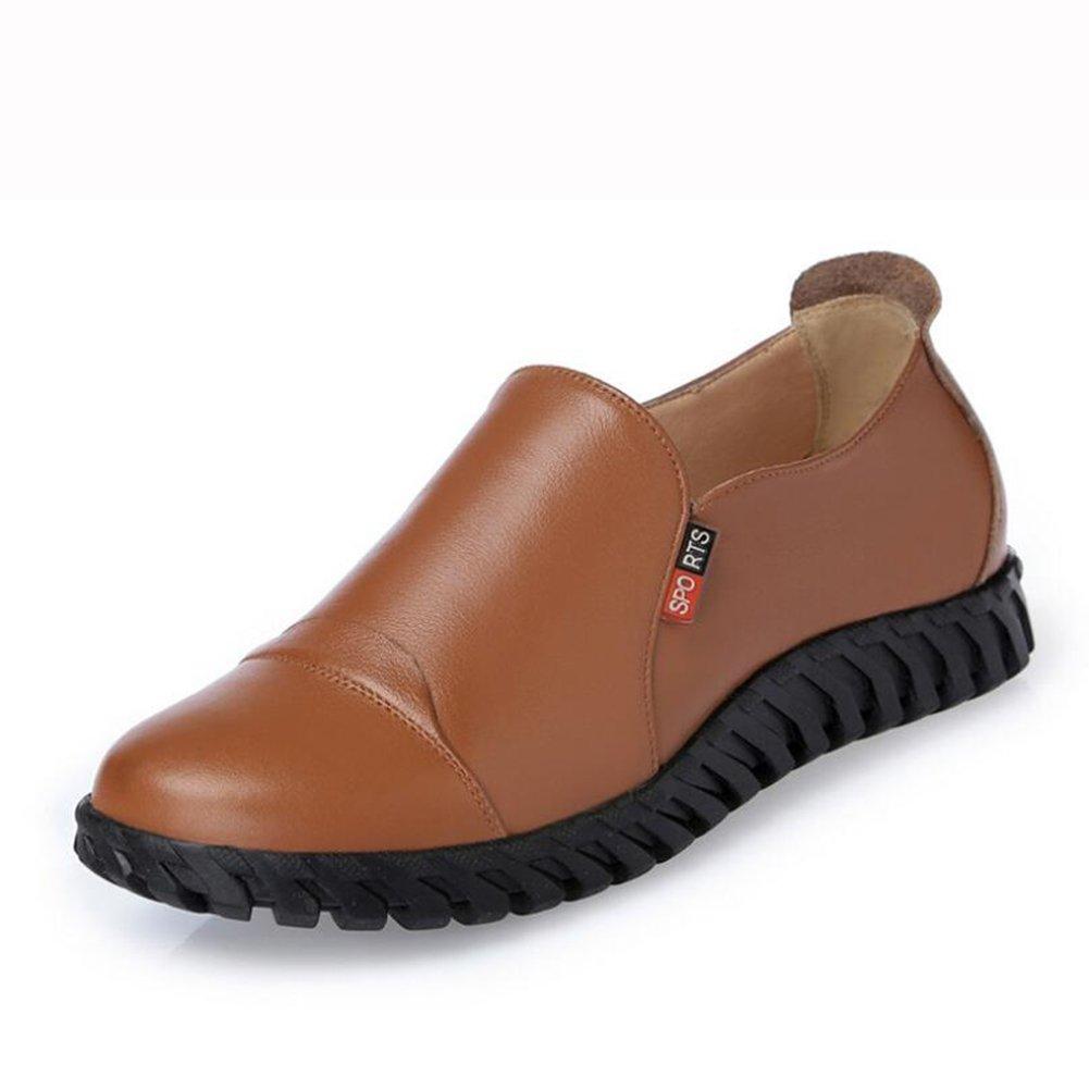 CAI Beiläufige Beiläufige Beiläufige Schuhe der Frauen 2018 Frühlings-und Herbst-beiläufige Ebene mit den Schuhen der Frauen Leder-weiche Unterseite Rutschfeste Tiefe Mund-Schuhe Damen (Farbe   Braun Größe   36) eeff10