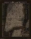 vintage nyc map - Vintage New York City and Vicinity Map Art Print Poster 24x30