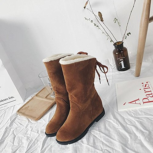 Winter Toe Calf Shoes Boots Brown leather Low Round Casual Brown Mid HSXZ for Women's Black Heel Boots ZHZNVX Nubuck Boots Bowknot Snow 6pw7X4Eqx