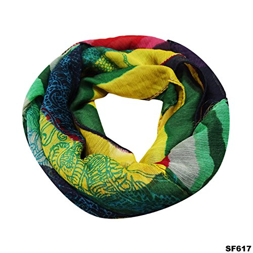 Élégant Foulards Indien Multicolore À L'Infini Cou Volant Femmes À La Mode Enveloppement Élégant