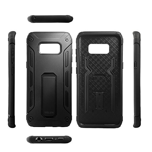 Galaxy S8 Case,YELUN[Heavy Duty]Shockproof Slim Fit Dual Layer Soft TPU & Hard PC Rugged Holster Cover Full-body Protective Bumper Case with Kickstand for Samsung Galaxy S8 (Black) by YELUN (Image #6)