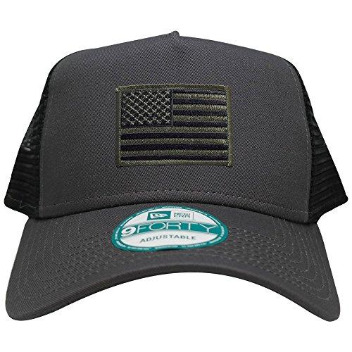 (New Era 9FORTY 5 Panel USA Flag Patch Snapback Trucker Cap - GRAPHITE - BLACK OLIVE)