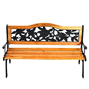 Patio Park Garden Bench Porch Path Chair Furniture Cast Iron Hardwood New perfect to sit and rest