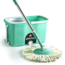 Bathla Ultra Clean 360° Spin Mop with Telescopic Pole and Precision Moulded Bucket + 2 Microfiber