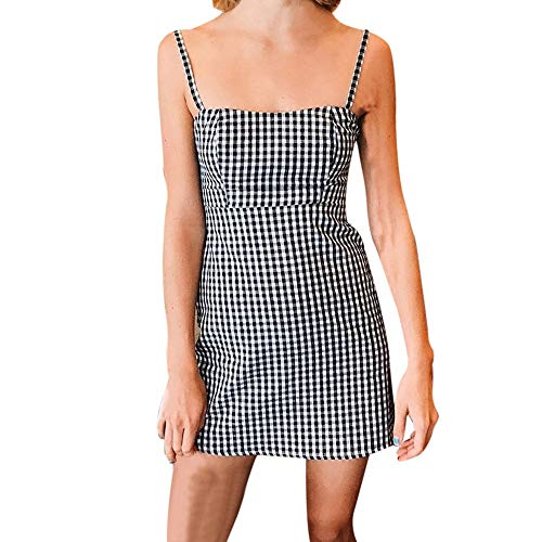 Women Summer Dress,Ladies Backless Plaid Printed Strap Sleeveless Party Sexy Mini Dresses (XL, Black) by Woaills-Tops (Image #2)