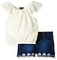 Limited Too Little Girls' Fashion Top and Short Set, 3067 Vanilla, 6