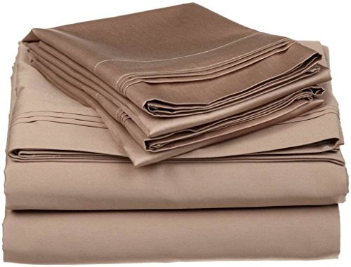 Crafts Linen 4 Piece Sheet Set- 100% Natural Cotton 400 TC Fit Mattress Up to 12-Inch-Deep Pocket, Feel Ultra-Soft, Comfortable and Eco-Friendly Sheets (Queen, Taupe Solid) (Best Rated Cotton Sheets)