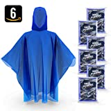 Disposable Rain Ponchos for Adults by Hagon Pro – ( 6 PACK ) Premium Quality 50% Thicker – 100% Waterproof Emergency Rain Ponchos with Hood – for Concerts, Amusement Parks, Camping