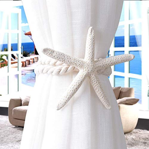 outopen Natural Starfish Curtain Tiebacks Hanging Belts Ropes Decor Beach Theme Party Home Decorations 1pc (Shell Curtain Tiebacks)
