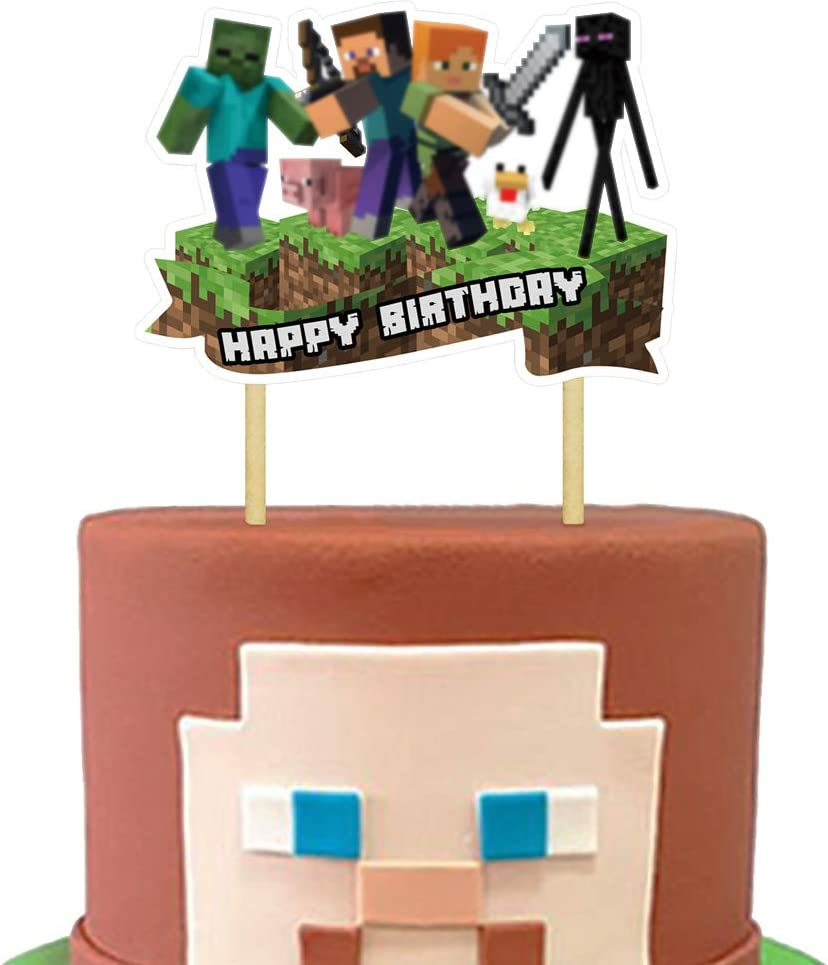 Cake Decorations for Minecraft Cake Topper Birthday Decorations