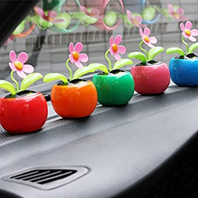 everd1487HH Solar Powered Dancing Flower Flip Flop Leaves Car Display Dashboard Toy,Home Desktop Decoration Life Gadget- Red: Home & Kitchen