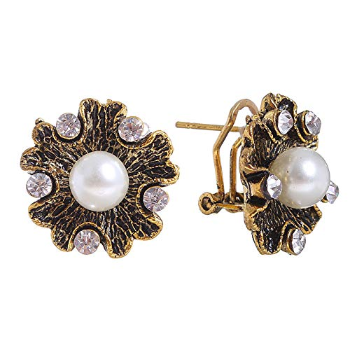 Floral Pendant Clip Earrings - Floral Stud Earrings Faux Pearl Crystal Charms Omega Back Clip For Pierced Ears (Bronze)