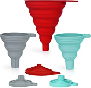 Stolphi Silicone Collapsible Funnel Set of 3 for Filling Bottles, Liquids or Dry Goods, Kitchen Gadgets, Food Grade, Premium Quality, Durable, Aqua, Gray and Red