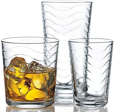 Home Essentials Ripple/Surf/Wave 12pc Drinkware Set