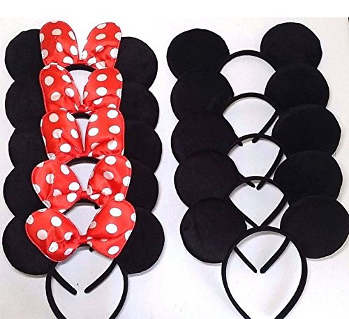 12pcs Mickey Minnie Mouse Ears Solid Black and Bow Headband