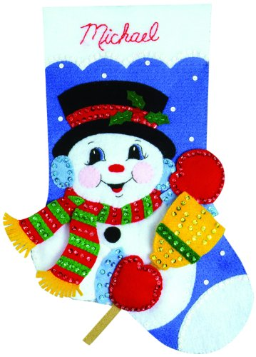 (Tobin Snowman with Broom Stocking Felt Applique Kit, 16-Inch)